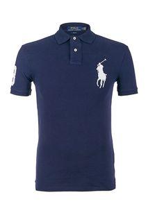 Хлопковая футболка поло синего цвета Polo Ralph Lauren