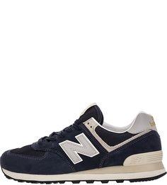 Темно-синие кроссовки из замши с текстильными вставками 574 New Balance