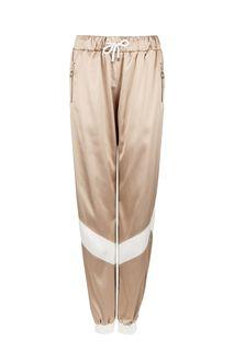 Атласные брюки джоггеры бежевого цвета Malaeva