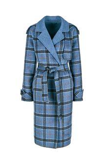 Двубортное синее пальто в клетку La Biali