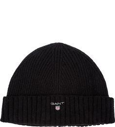 Шерстяная шапка мелкой вязки с подкладкой Gant