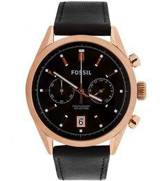 Кварцевые часы с кожаным ремешком Fossil