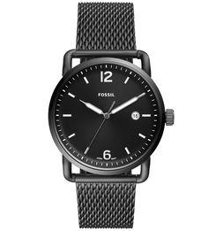 Часы с металлическим браслетом и черным циферблатом Fossil