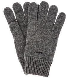 Серые шерстяные перчатки без подкладки Gant
