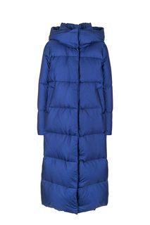 Удлиненный зимний пуховик синего цвета add