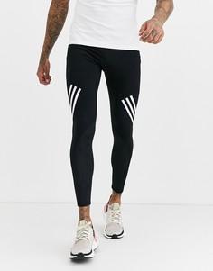 Черные леггинсы с 3 полосками adidas Training alphaskin-Черный