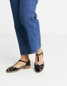 Черные лакированные туфли на плоской подошве ASOS DESIGN Micha-Черный