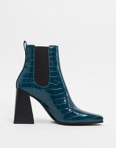 Сине-зеленые ботинки на каблуке и платформе Topshop-Зеленый