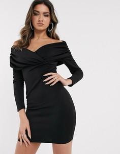 Платье мини с открытыми плечами, длинными рукавами и сборками ASOS DESIGN-Черный
