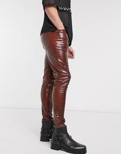 Коричневые виниловые джинсы скинни с завышенной талией и отделкой под кожу крокодила ASOS DESIGN-Коричневый