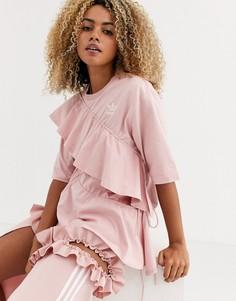 Розовая футболка с логотипом-трилистником и оборками adidas Originals x J KOO-Белый