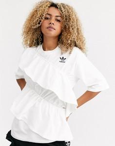 Кремовая футболка с логотипом-трилистником и оборками adidas Originals x J KOO-Белый