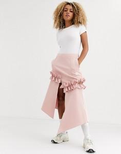 Розовая юбка с оборками и логотипом-трилистником adidas Originals x J KOO-Розовый