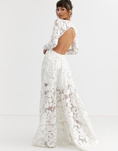 Платье с открытой спиной и цветочной вышивкой ASOS EDITION wedding-Белый