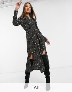 Черное платье‑рубашка в горошек Topshop Tall-Желтый