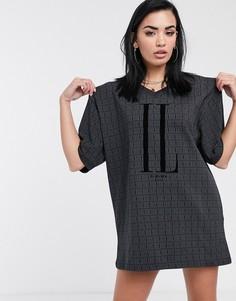 Свободное платье-футболка с V-образным вырезом Il Sarto-Черный