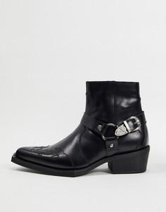 Ковбойские кожаные ботинки с квадратным носком ASOS EDITION-Черный