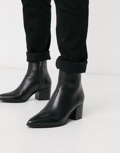 Черные кожаные ботинки челси с острым носом ASOS DESIGN-Черный