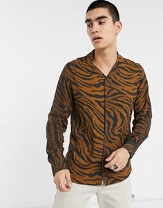 Черно-коричневая рубашка с длинными рукавами и тигровым принтом Criminal Damage-Черный