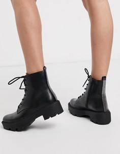 Черные ботинки на шнуровке Bershka-Черный