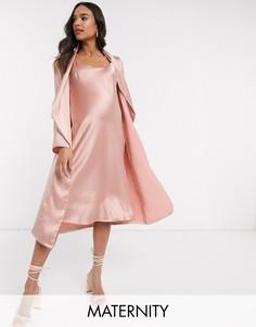 Платье миди на бретелях и жакет с драпировкой Queen Bee-Розовый