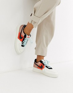 Кроссовки со вставками колор блок и эффектом металлик Nike Air Force 1 07-Мульти