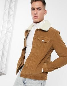 Светло-коричневая вельветовая куртка с воротником из искусственного меха River Island-Светло-коричневый