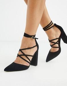 Черные туфли на высоком блочном каблуке ASOS DESIGN-Черный