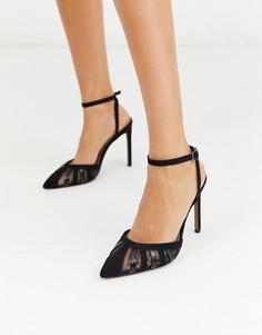 Черные туфли на шпильке с вырезами ASOS DESIGN-Черный