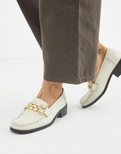 Лоферы с квадратным носком и цепочками ASOS DESIGN-Белый