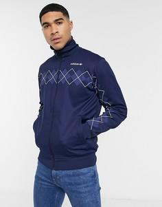 Темно-синяя олимпийка с принтом adidas Originals-Темно-синий
