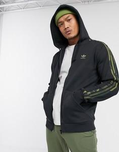 Худи черного цвета на молнии с 3 полосками adidas Originals-Черный
