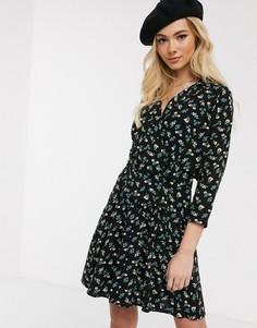 Повседневное чайное платье мини с запахом и цветочным принтом ASOS DESIGN-Мульти