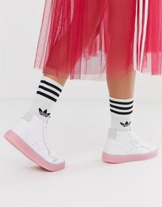 Бело-розовые кроссовки средней высоты adidas Originals-Белый