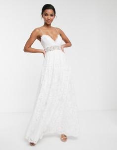 Кружевное свадебное платье на бретельках со свободной юбкой ASOS EDITION-Белый