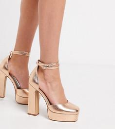 Золотистые туфли на платформе и блочном каблуке для широкой стопы ASOS DESIGN-Золотой