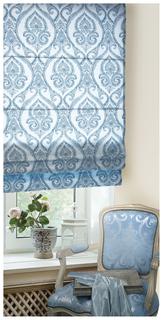 Римская штора Эскар Дамаск 160х140 цвет белый; синий