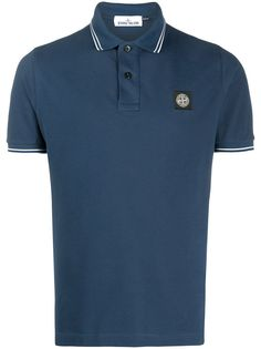 Stone Island stripe trim polo shirt