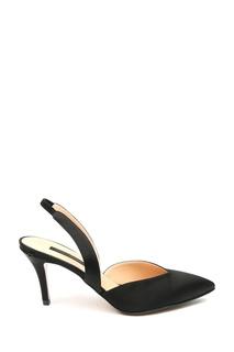 Черные туфли из кожи и атласа Marina Rinaldi
