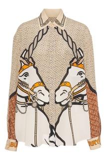 Блуза с рисунком лошадей Burberry