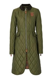 Стеганное пальто с логотипом Burberry
