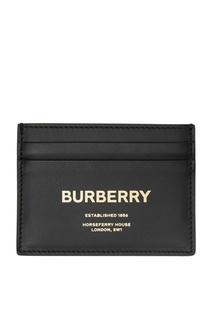 Черная визитница с золотистым логотипом Burberry