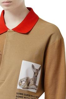 Бежевая футболка-поло оверсайз с принтом Burberry