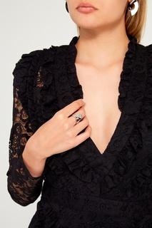 Серебристое кольцо-лента Ruby Novich