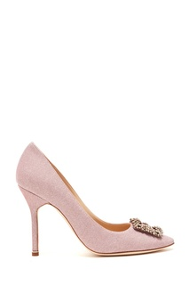 Розовые туфли Hangisi с глиттером Manolo Blahnik