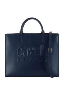 Синяя кожаная сумка с контрастными вставками Cavalli Class