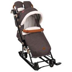 Санки-коляска Nika Ника Детям 7-8 (НД7-8) в елочку коричневый