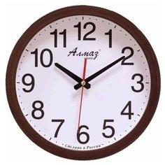 Часы настенные кварцевые Алмаз B51-B56 темно-коричневый/белый/красный