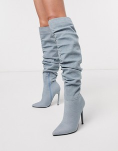Джинсовые ботфорты на каблуке-шпильке со свободным голенищем ASOS DESIGN-Синий