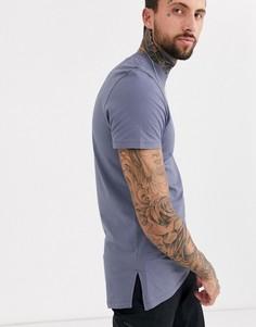 Длинная серая футболка с круглым вырезом и разрезами на нижней кромке ASOS DESIGN-Серый